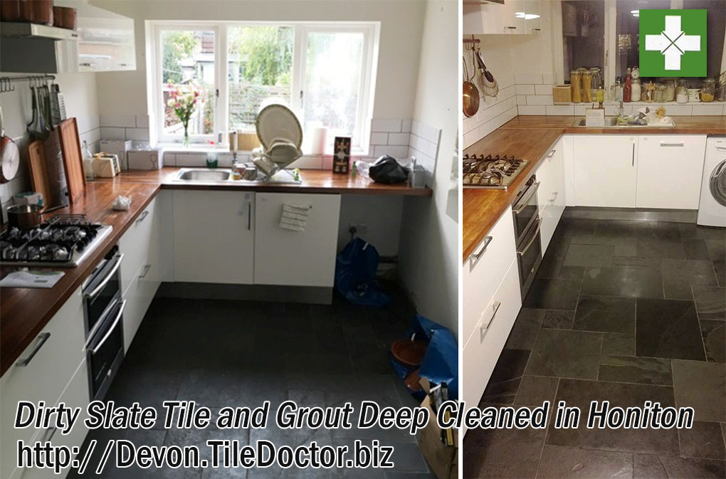 Dirty Slate Tile and Grout Deep Cleaned in Honiton Kitchen