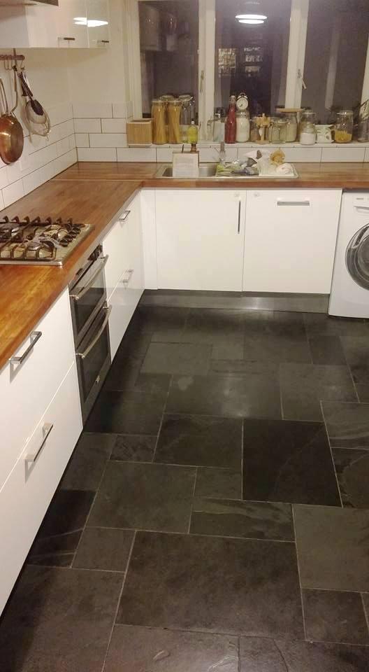 Kitchen Slate Tiled Floor Honiton After