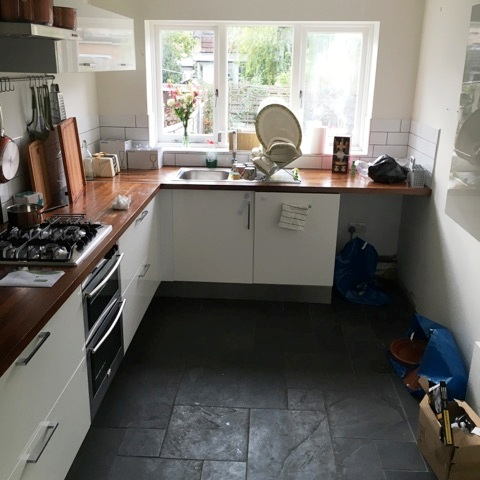 Kitchen Slate Tiled Floor Honiton Before