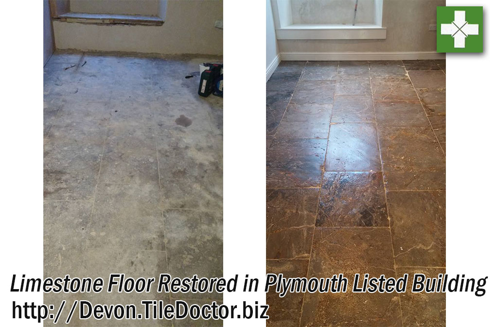 Limestone Basement Floor Before and After Restoration Plymouth