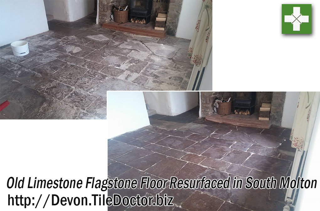 Limestone Flagstone Floor Before and After Restoration in South Molton
