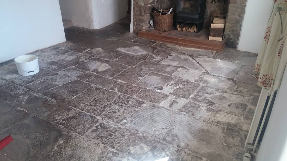 Limestone Flagstone South Molton before cleaning