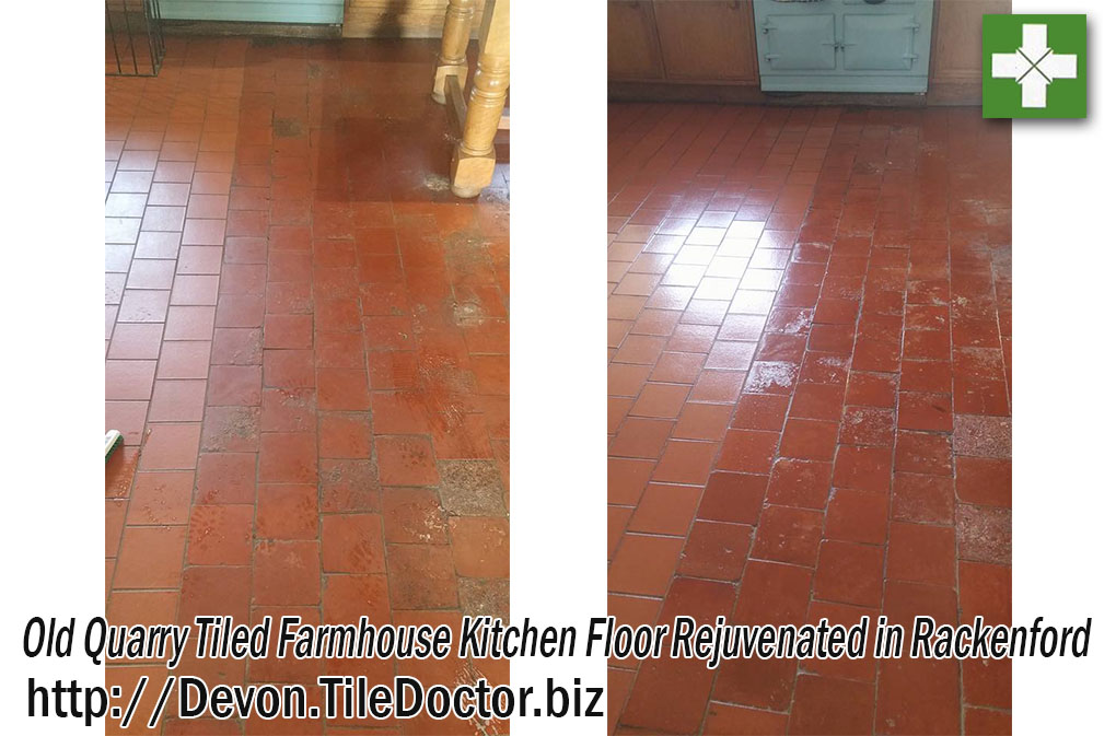 Old Quarry Farmhouse Quarry Tiled Floor Before and After Restoration Rackenford