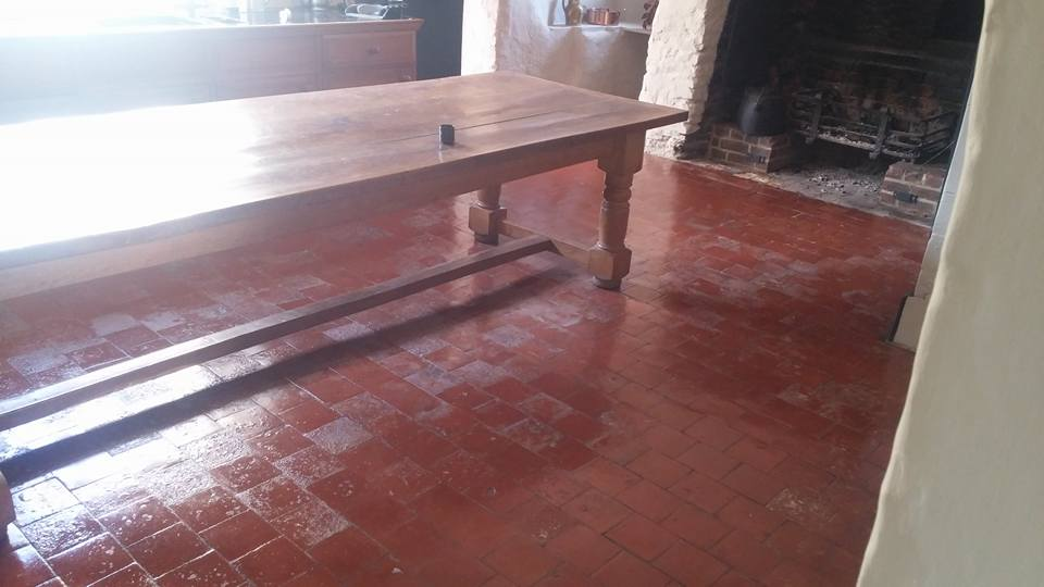 Old Quarry Tiled Farmhouse Floor Rackenford After Cleaning Panorama