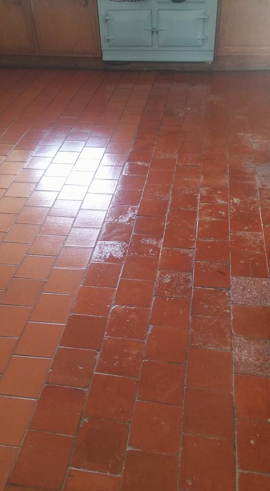 Old Quarry Tiled Farmhouse Floor Rackenford After Cleaning