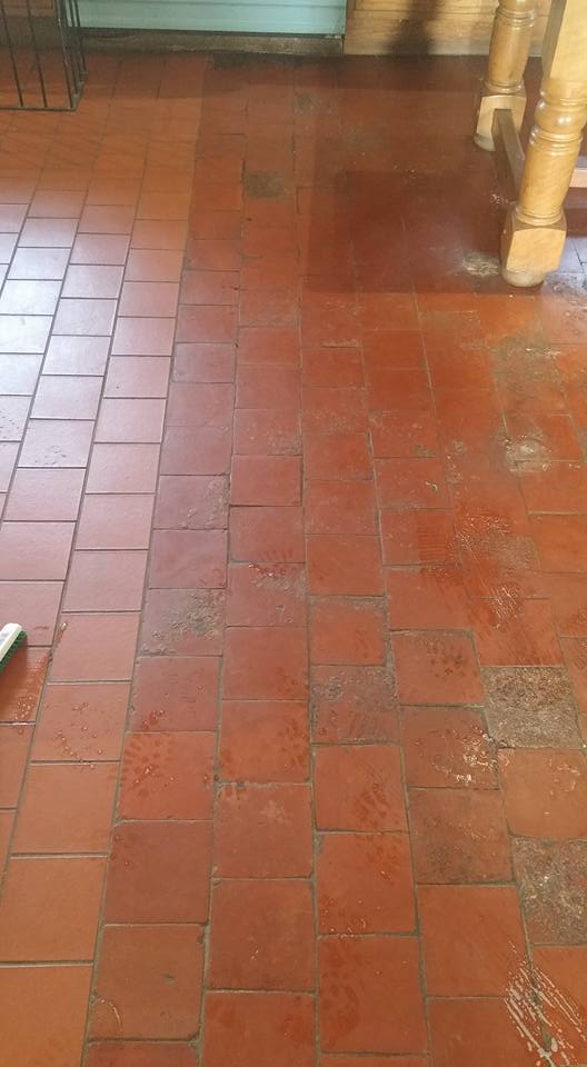 Old Quarry Tiled Farmhouse Floor Rackenford Before Cleaning