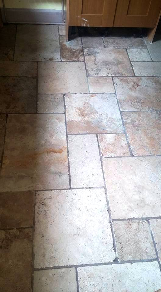 Unfilled Travertine Floor Exeter After Burnishing