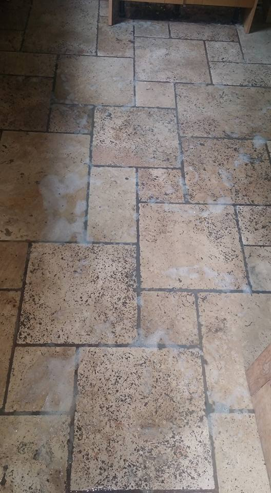 Unfilled Travertine Floor Exeter Before Burnishing