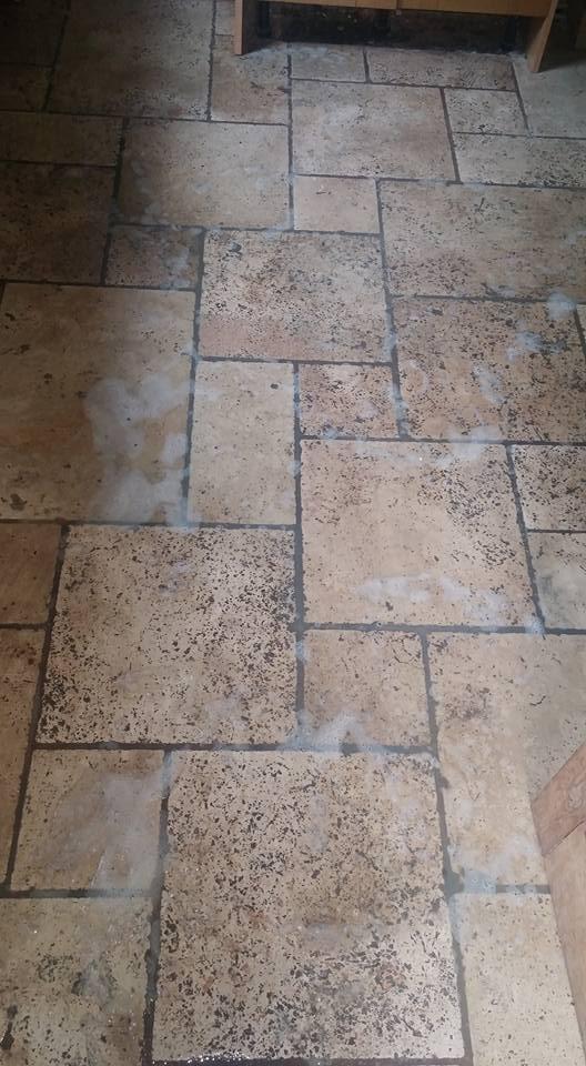 Unfilled Travertine Floor Exeter Before Burnishing