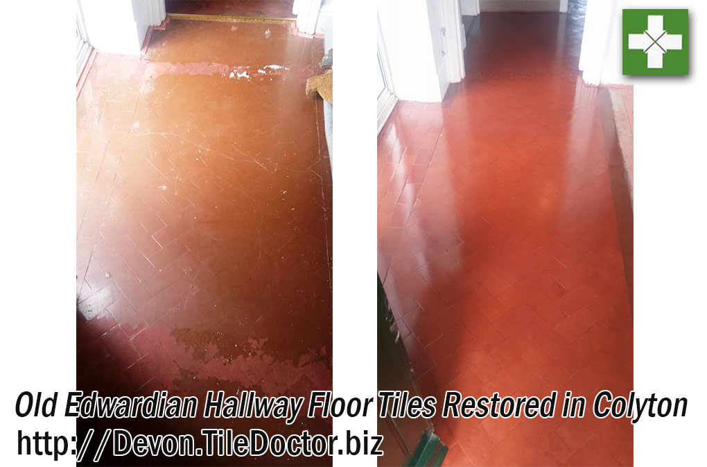 Edwardian Hallway Floor Before and After Restoration in Colyton