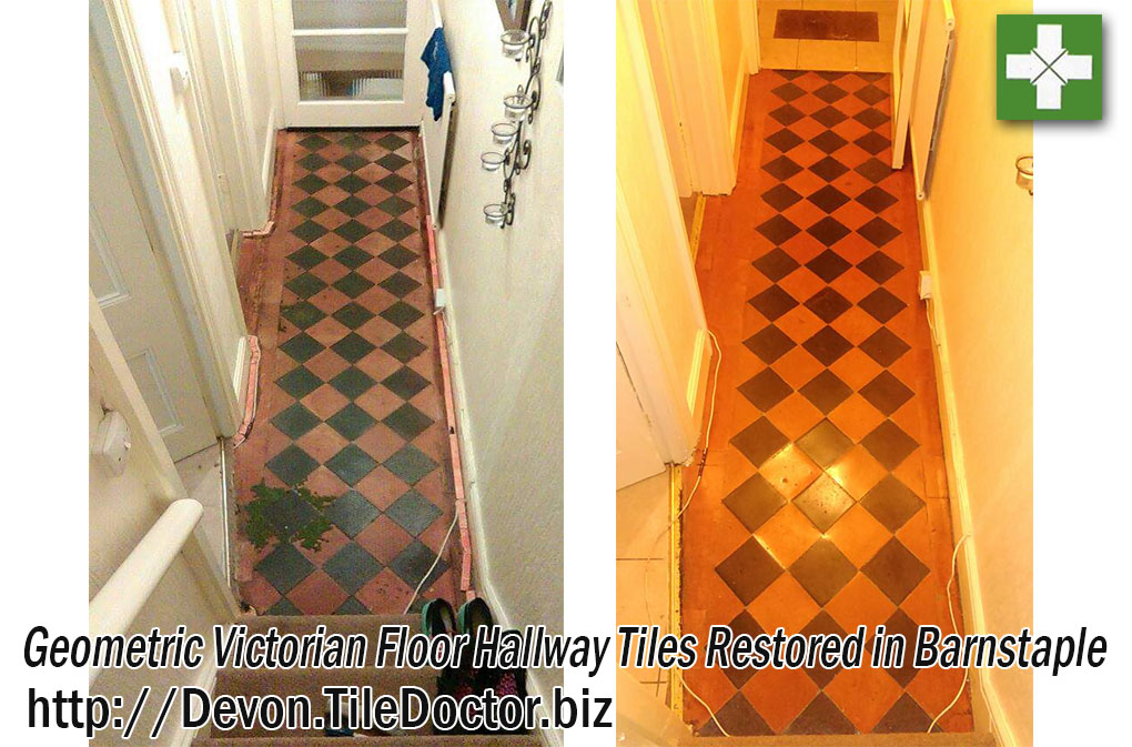 Geometric Victorian Tiled Hallway Floor Before and After Restoration in Barnstaple