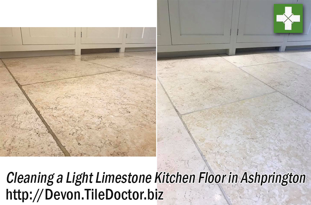 Light Limestone Floor Before and After Cleaning in Ashprington
