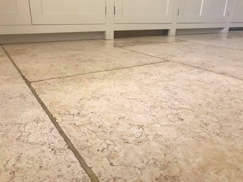 Light Limestone Kitchen Floor Ashprington Before