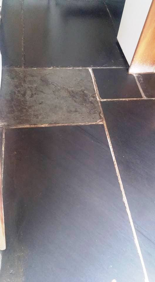 Slate Flagstones After Cleaning in Dawlish
