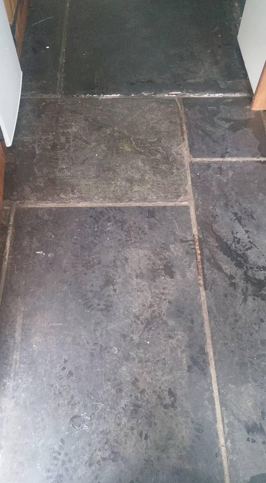 Slate Flagstones Before Cleaning in Dawlish