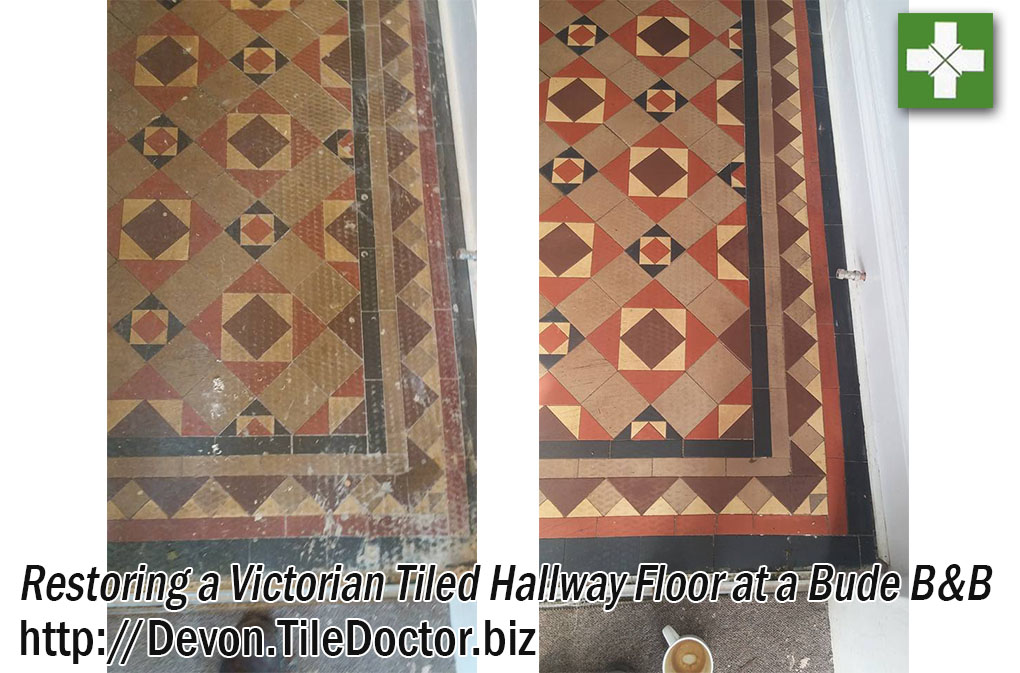 Victorian Hallway Tiles Before and After Cleaning in Bude