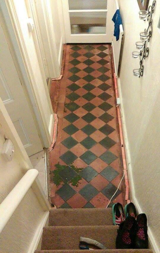Victorian Tiled Hallway Barnstaple before restoration