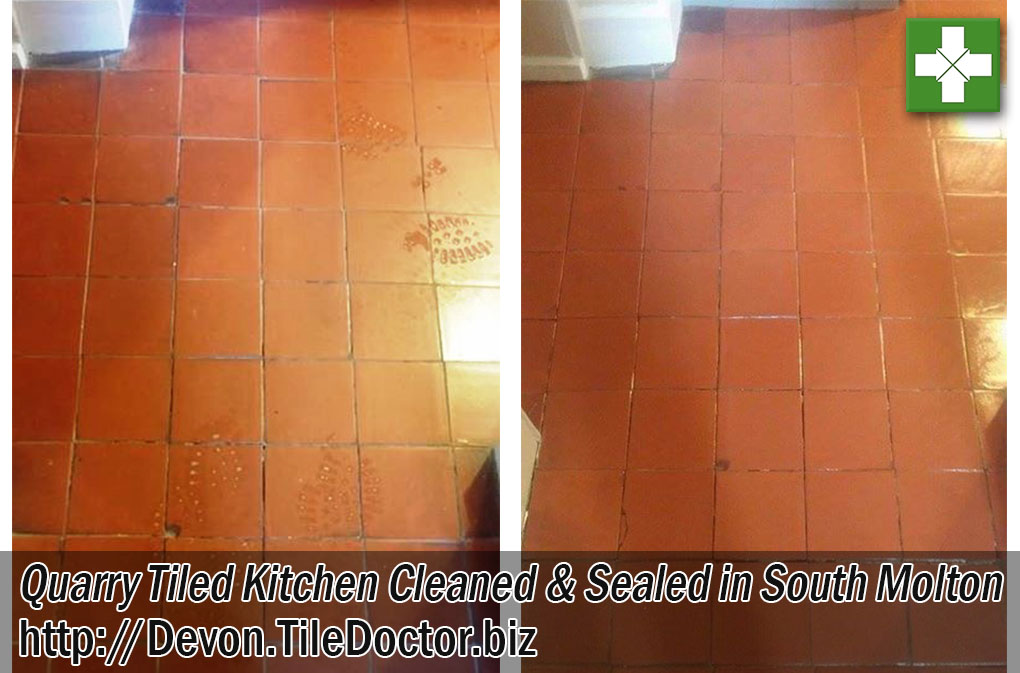 Quarry Tiled Kitchen Floor Before and After Cleaning in South Molton
