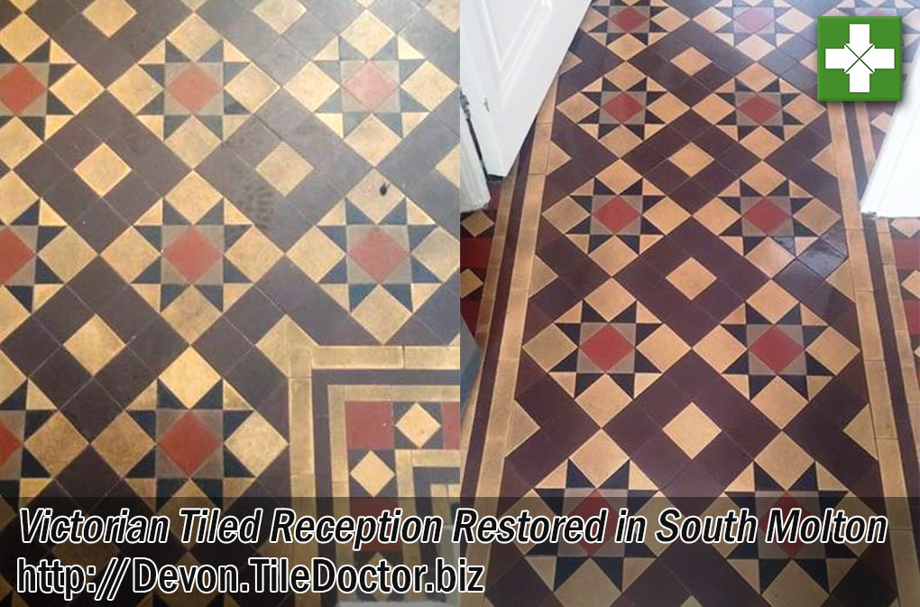 Victorian Tiled Reception Floor Before and After Cleaning in South Molton