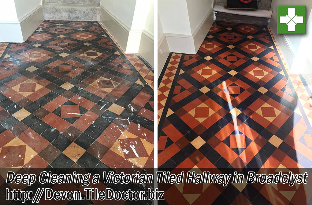 Victorian Tiled Hallway Before and After Cleaning Broadclyst