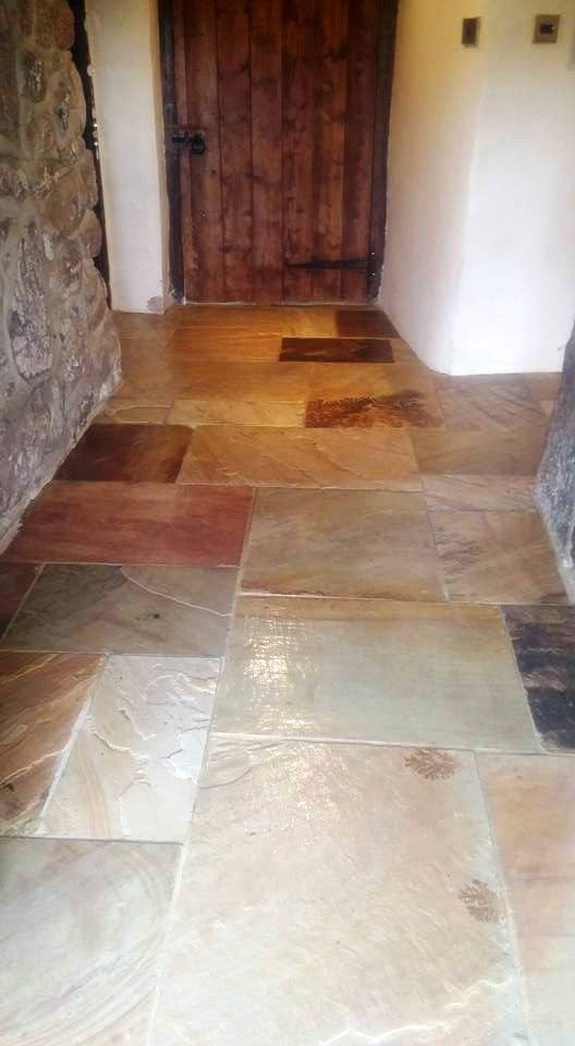 Flood Damaged Sandstone Tiled Floor Chagford After Restoration