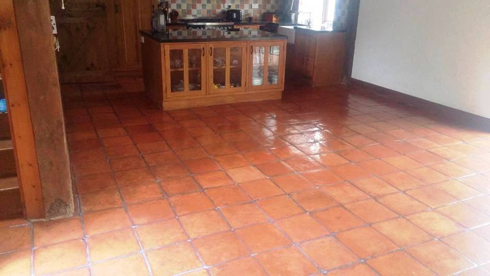 Terracotta Tiled Kitchen Floor After Cleaning and Sealing Moretonhampstead