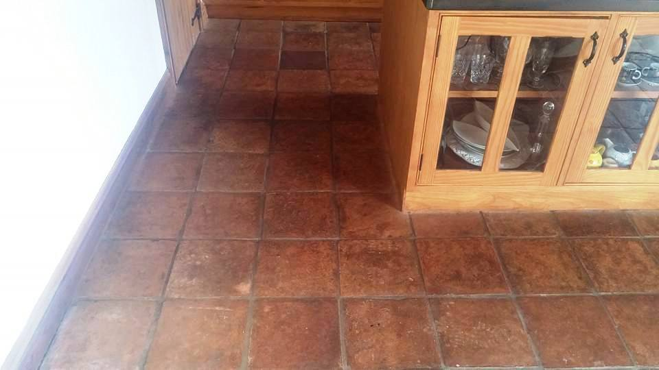 Terracotta Tiled Kitchen Floor Before Cleaning Moretonhampstead