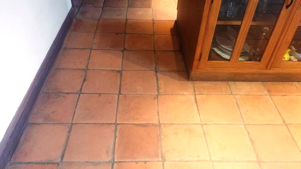 Terracotta Tiled Kitchen Floor Before Sealing Moretonhampstead