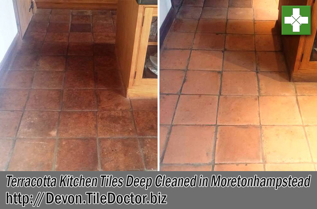 Terracotta-Tiled-Kitchen Floor Before and After Cleaning Moretonhampstead