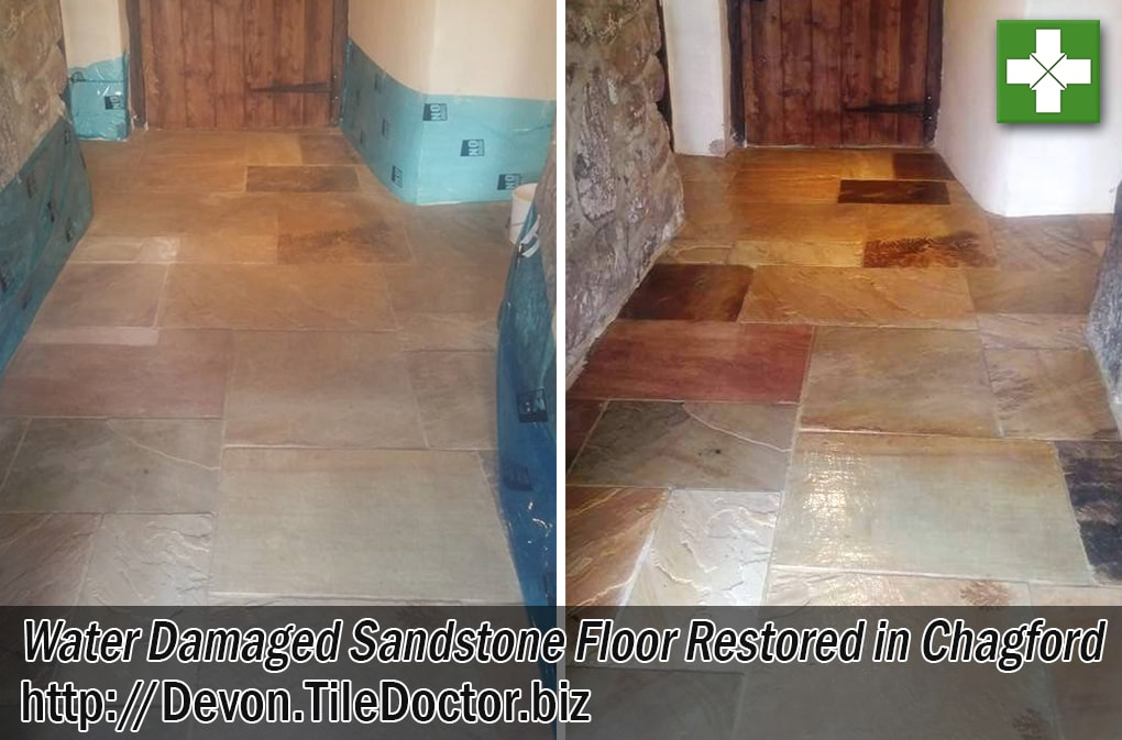 Water-Damaged-Sandstone Flagstone Hallway Before and After Restoration Chagford