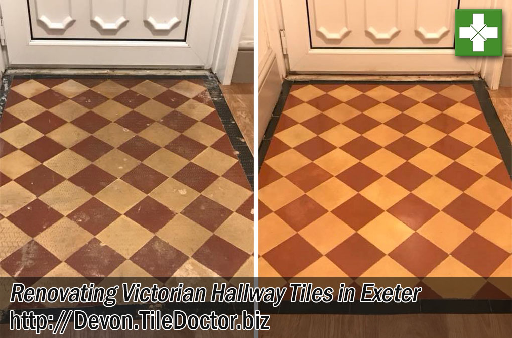 Victorian Tiled Hallway Floor Before and After Cleaning Exeter