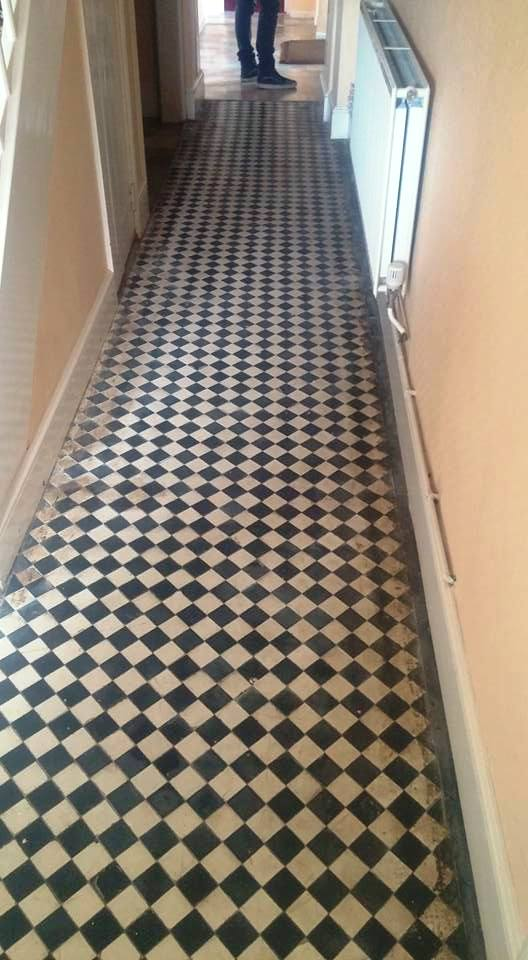Mid Victorian Tiled Farmhouse Hallway Clyst Hydon Before Cleaning
