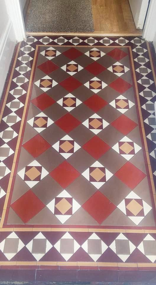 Small Victorian Tiled Vestibule Exmouth After Cleaning
