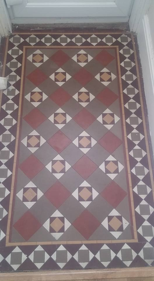 Small Victorian Tiled Vestibule Exmouth Before Cleaning