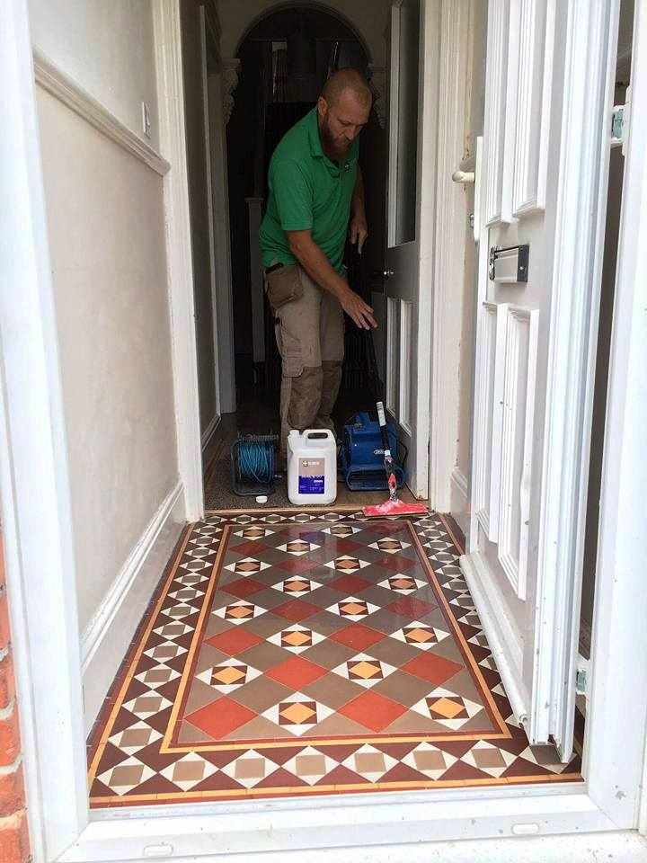 Small Victorian Tiled Vestibule Exmouth During Sealing