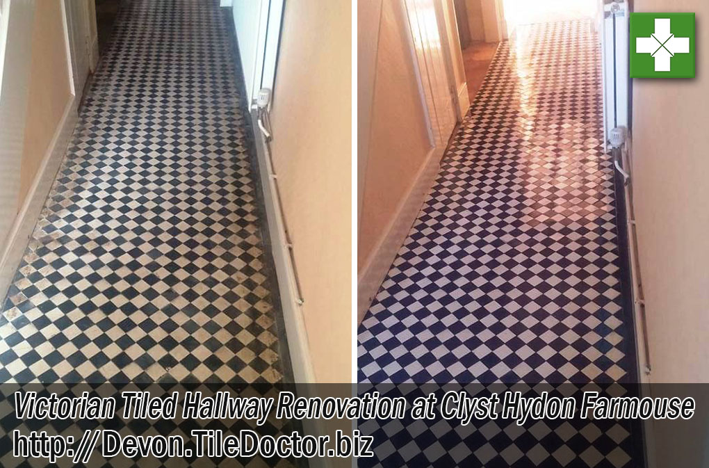 Victorian Tiled Hallway Before and After Renovation Clyst Hydon Farmouse