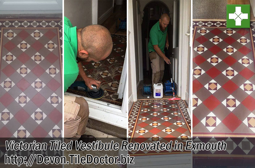 Victorian Tiled Vestibule Before After Cleaning Exmouth