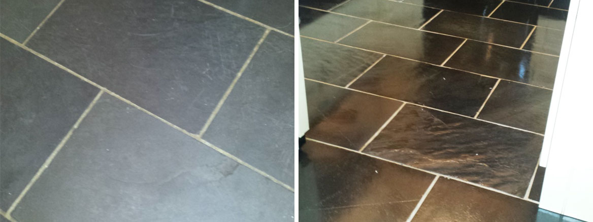 Black Slate Before and After cleaning and sealing in Okehampton