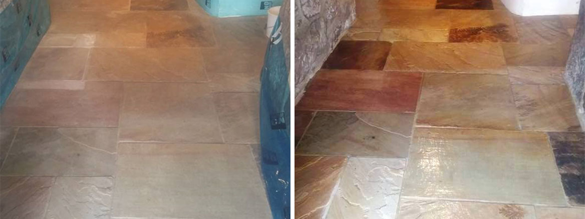 Flood Damaged Sandstone Tiled Floor Chagford Before and After Restoration