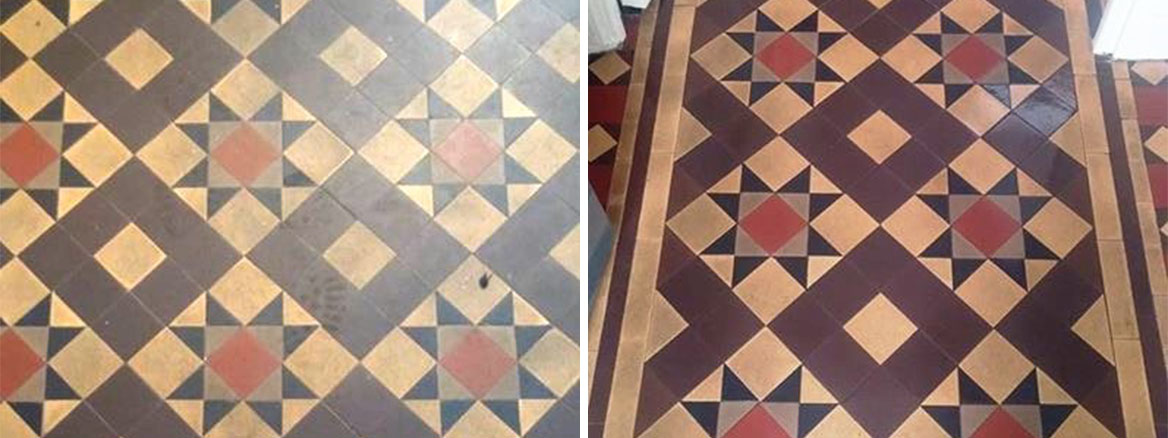 Georgian Reception Floor Tiles Before and After Cleaning South Molton