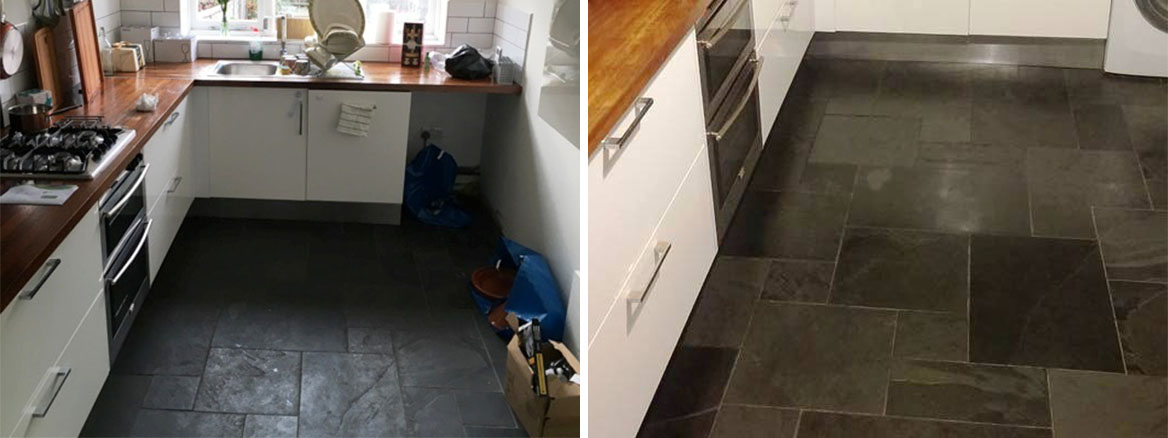 Kitchen Slate Tiled Floor Honiton Before and After