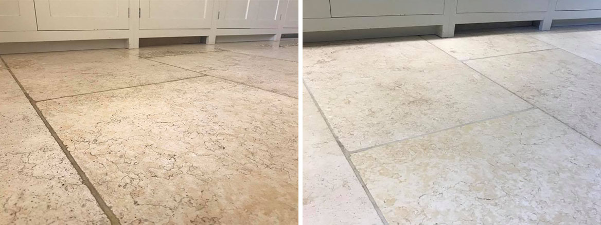 Light Limestone Kitchen Floor Ashprington Before and After