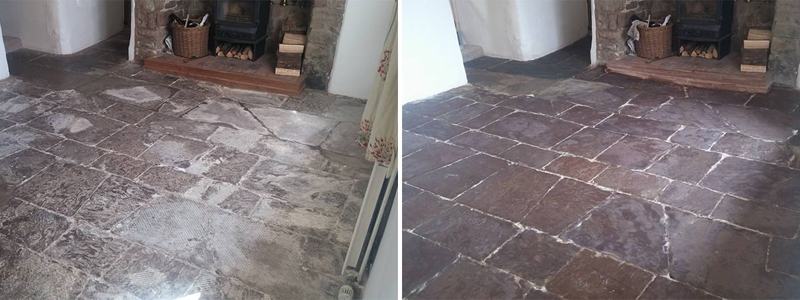 Limestone Flagstone South Molton Before and After cleaning