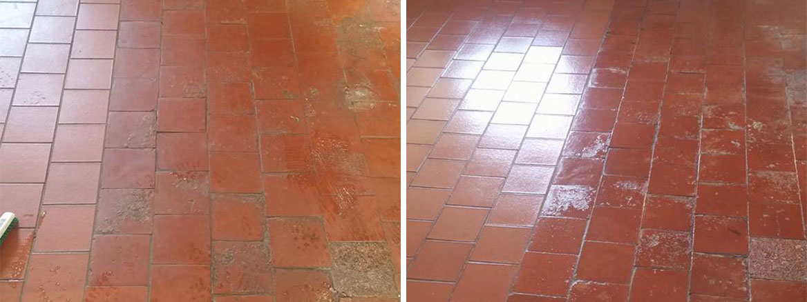 Old Quarry Tiled Farmhouse Floor Rackenford Before and After Cleaning