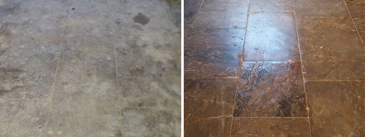 Plymouth Limestone Floor Plymouth Before and After Restoration