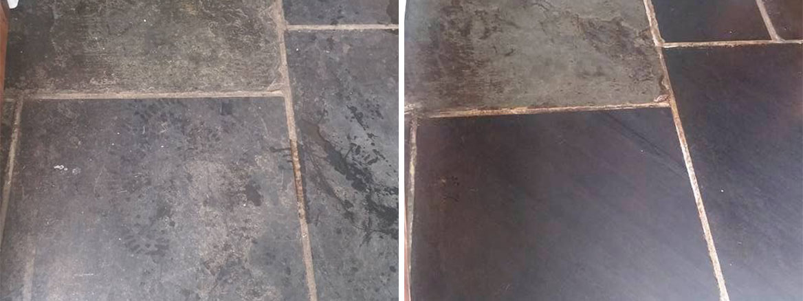 Slate Flagstones Before and After Cleaning in Dawlish