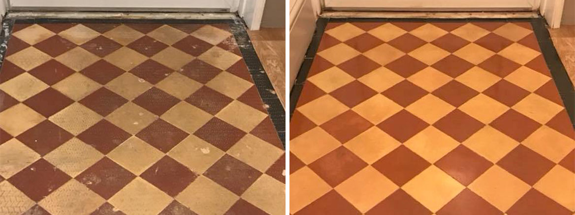 Small Victorian Tiled Hallway Entrance Exeter Before and After Cleaning