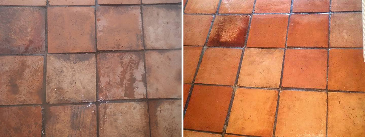 Terracotta Tiled Floor in Lympstone Before and After Cleaning