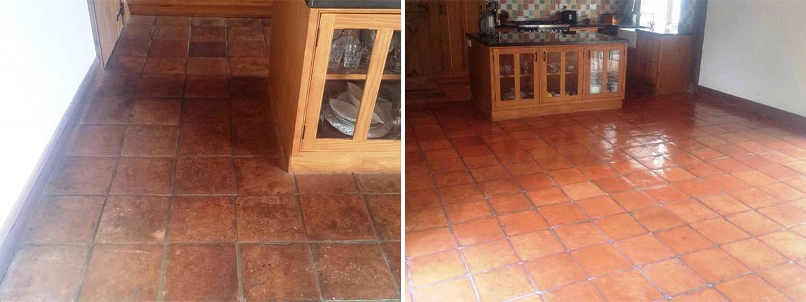 Terracotta Tiled Kitchen Floor Before and After Cleaning and Sealing Moretonhampstead