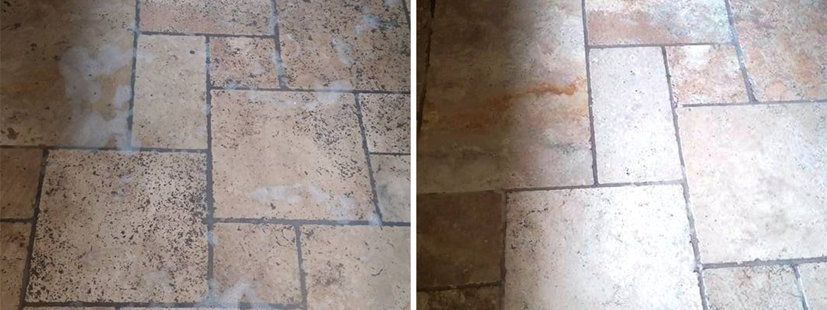 Unfilled Travertine Floor Exeter Before and After Burnishing